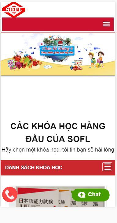 Website Nhật ngữ SOFL giao diện mobile