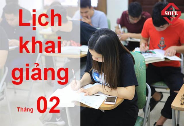 Lịch khai giảng tháng 02/2019 - Cơ sở Hà Nội