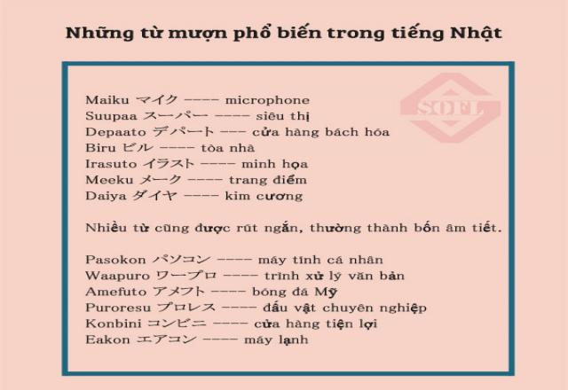 Những từ mượn phổ biến trong tiếng Nhật